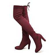 Women Stretch Faux Suede Slim Thigh High Boots Sexy Fashion Over the Knee Boots High Heels Woman Shoes Black Gray