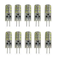 billige Bi-pin lamper med LED-10pcs 1W 200lm G4 LED-lamper med G-sokkel Tube 24 LED perler SMD 3014 Dekorativ Varm hvit Kjølig hvit 12V