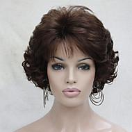 Kvinder Syntetiske parykker Lokkløs Kort Krøllete Rødbrun Midtskill Med lugg capless parykker costume Parykker