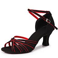 billige Sko til latindans-Dame Latin Ballett Sateng Høye hæler Tykk hæl Svart Rød Sølv Gull Lyseblå 5,5 cm Kan ikke spesialtilpasses