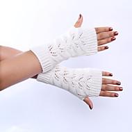Dame Sødt Fest Kontor Håndledslængde Halv Finger Handsker Ensfarvet