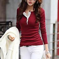billige Overdele til damer-Dame - Ensfarvet T-shirt Bomuld