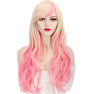 Highlight Fashion Pink Blonde Gradient Wave Trendy Cosplay Wigs Charming Style