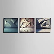 MINI SIZE E-HOME Three Dimensional Geometric Patterns Clock in Canvas 3pcs