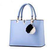 baratos Bolsas Tote-Mulheres Bolsas PU Bolsa de Ombro Ziper Rosa claro / Vinho / Azul Claro