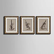 billige Innrammet kunst-Musikk Innrammet Lerret / Innrammet Sett Wall Art,PVC Gylden Passpertou Inkludert med Frame Wall Art