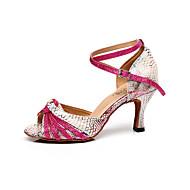 "Women's Latin Leather Sandal Practice Beginner Professional Indoor Buckle Stiletto Heel Peach 2"" - 2 3/4"" Customizable"