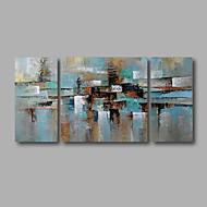 billige -Hånd-malede Abstrakt Landskab Oliemalerier,Moderne Tre Paneler Kanvas Hang-Painted Oliemaleri For Hjem Dekoration