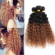 3 Bundler Brasiliansk hår Krøllet / Krøllet væv Jomfruhår Nuance Nuance Menneskehår Vævninger Menneskehår Extensions