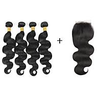 Menneskehår Brasiliansk hår Menneskehår, Bølget Bølget Hår Ekstensions 5 Dele Sort