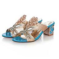 baratos Sapatos Femininos-Mulheres Sapatos Gliter / Couro Ecológico Verão Chanel Sandálias Caminhada Salto Robusto / Salto de bloco Dedo Apontado / Dedo Aberto Gliter com Brilho Preto / Azul Escuro / Azul Real