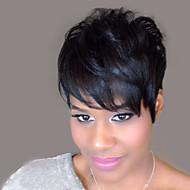 természetes hullámos rövid emberi haj paróka fekete nő