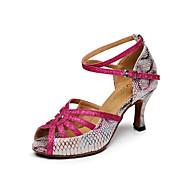 baratos Sapatilhas de Dança-Mulheres Sapatos de Dança Latina Couro Sandália Estampa Animal Salto Robusto Personalizável Sapatos de Dança Fúcsia / Interior