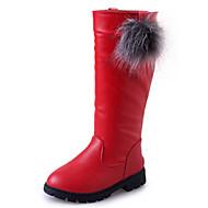 billige High-tops til børn-Støvler-Læder-Komfort Snowboots-Piger-Sort Brun Rød-Udendørs Fritid Sport-Lav hæl