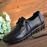 Damen Schuhe Leder Frühling Sommer Herbst Komfort Outdoor Flacher Absatz Schnürsenkel für Normal Schwarz Rot