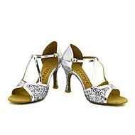 billige Sko til latindans-Kan spesialtilpasses-Dame-Dansesko-Latinamerikansk Salsa-Glimtende Glitter-Kustomisert hæl-Svart Rød Sølv Gull
