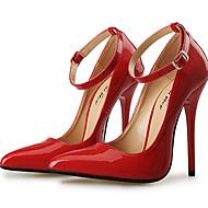 Női Magassarkúak Boka pántos PU Tavasz Nyár Ősz Tél Party és Estélyi Boka pántos Csat Stiletto Fekete Piros 5 inch és magasabb