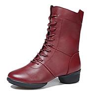 baratos Sapatilhas de Dança-Mulheres Sapatos de Dança Moderna / Botas de Dança Couro Botas / Meia Solas Salto Baixo Não Personalizável Sapatos de Dança Preto / Vermelho
