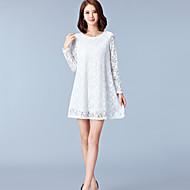 Dámské Sofistikované Denní Velké velikosti Volné Krajka Šaty Jednobarevné,Dlouhý rukáv Kulatý Mini Polyester Jaro Podzim Mid Rise Lehce