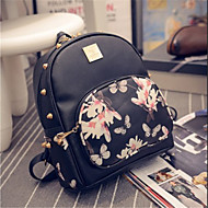 Women Bags PU leatherette Backpack Zipper for Casual Summer White Black Pink