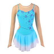 Vestidos para Patinação Artística Mulheres Para Meninas Patinação no Gelo Vestidos Elastano Pedrarias Apliques Flor Elasticidade Alta