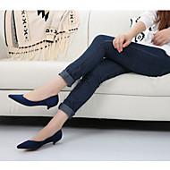 baratos Sapatos Femininos-Mulheres Tecido Primavera / Outono Conforto Saltos Salto Baixo Dedo Apontado Verde / Khaki / Vinho / Social