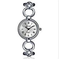 Dame Modeur Armbåndsur Quartz Vandafvisende Stopur Imiteret Diamant Rhinsten Legering Bånd Charm Armbånd Afslappet Elegante Sølv Sølv
