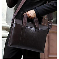 Men Bags PU Briefcase for Office & Career Black Brown