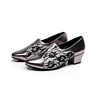 baratos Sapatilhas de Dança-Mulheres Sapatos de Dança Latina / Sapatos de Salsa Flocagem Sandália Presilha Salto Agulha Personalizável Sapatos de Dança Preto /