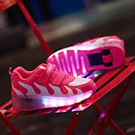tanie Obuwie dziewczęce-Dla dziewczynek Obuwie Skóra Wiosna / Lato / Jesień Wygoda / Świecące buty Tenisówki Buty śniegowe / Buty skate Szurowane / Haczyk i pętelka / LED na Różowy / Czarny czerwony / Czarny biały