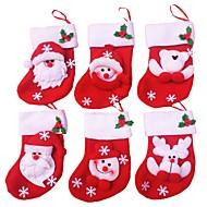 6pcs / lot van vrolijk kerstfeest sokken kerst decoratie voor huis van de Kerstman kerst cadeau ornamenten decoratie