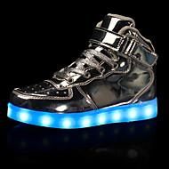 男性-カジュアル-レザーレット-フラットヒール-コンフォートシューズ 靴を点灯-スニーカー-ブラック レッド ホワイト シルバー ゴールド