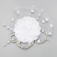 billiga Brudhuvudbonader-Chiffong Oäkta pärla Bergkristall Nät Birdcage slöjor 1 Bröllop Speciellt Tillfälle Hårbonad