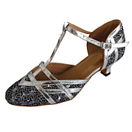 Women's Modern Sparkling Glitter Sandal Practice Beginner Professional Indoor Performance Customized Heel Silver Black Red Brown