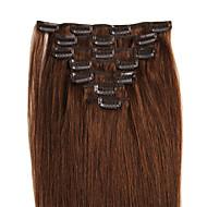 Febay Cu Clape Umane extensii de par Drept Păr Natural 8/613 Gândac Castan Brown / Bleach Blonde