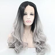 Vrouw Synthetische pruiken Kanten Voorkant Natuurlijk golvend Zwart / grijs Natuurlijke pruik Kostuumpruik
