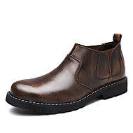 Men's Boots Comfort Fall Winter Real Leather Cashmere Casual Office & Career Outdoor Flat Heel Gray Coffee Flat