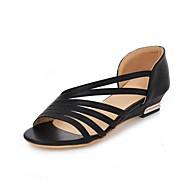 baratos Sapatos Femininos-Mulheres Sapatos Courino Couro Envernizado Sintético Primavera Verão Inovador Conforto Sandálias Caminhada Sem Salto Peep Toe Poa para
