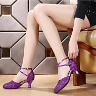 billige Moderne sko-Dame Sko til latindans / Moderne sko / Salsasko Glimtende Glitter / Paljett / Lær Høye hæler Gummi Kustomisert hæl Kan spesialtilpasses