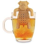 Silikon Kaffee Teesieb Hund Mops Teekanne Kräuterwürze Siebfilter Geschenk (gelegentliche Farbe)
