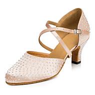 tanie Small Size Shoes-Damskie Latino Stepowanie Taniec nowoczesny Salsa Satyna Skóra Na obcasie Domowy Trening Stras Cekin Obcas do wyboru Black Almond