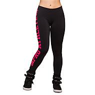 Dame Polyester Medium Ensfarvet Trykt mønster Legging Rosa