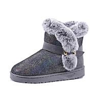 tanie Obuwie damskie-Damskie Buciki Comfort Śniegowce PU Zima Casual Comfort Śniegowce Pom-pom Niski obcas Black Różowy Khaki Płaski obcas