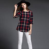 Feminino Camiseta Informal / Casual / Tamanhos Grandes Simples / Moda de Rua / Sofisticado Todas as Estações,Xadrez VermelhoAlgodão /