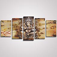 Abstrato Animal Modern Realismo,5 Painéis Tela Horizontal Estampado Decoração de Parede For Decoração para casa