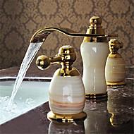 Moderni Kolmiosainen Vesiputous with  Keraaminen venttiili Kaksi kahvaa kolme reikää for  Ti-PVD , Kylpyhuone Sink hana