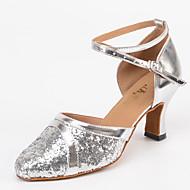 billige Moderne sko-Dame Sko til latindans / Jazz-sko / Dansesko Kunstlær Joggesko Tykk hæl Kan spesialtilpasses Dansesko Sølv / Moderne sko / Trening