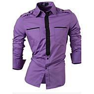 メンズ フォーマル ワーク 春 シャツ,シンプル アジアン・エスニック スタンドカラー カラーブロック コットン 長袖 ミディアム