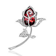 hesapli -Kadın's Broşlar Kristal Beyaz Mor Kırmzı Mavi Şık Mücevher Düğün Parti Günlük Kostüm takısı