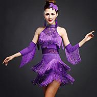 Latin Dansı Elbiseler Kadın's Eğitim Yapay İpek Spandeks Dantel Boncuklama 3 Parça Kolsuz Doğal Elbise Bileklikler